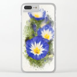 Watercolor Morning Glories Clear iPhone Case