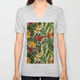 Tropical Vintage Exotic Jungle Flower Flowers - Floral watercolor pattern Unisex V-Neck