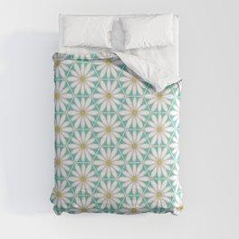 Daisy Hex - Turquoise Comforters