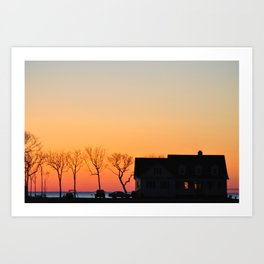 Eastern Shore House Sunset Art Print