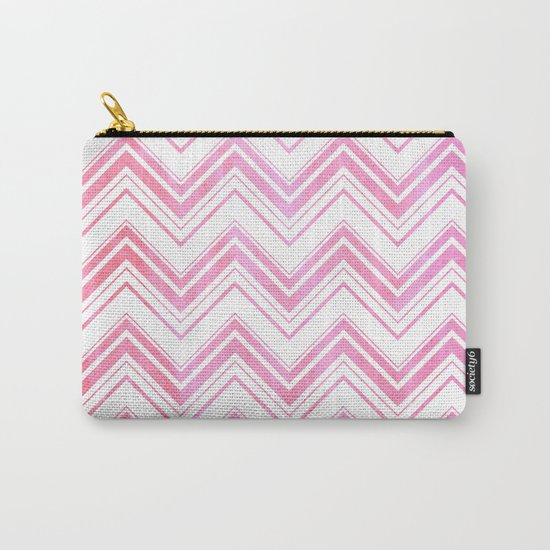 Chevron pattern pink watercolor on white #Society6 Carry-All Pouch