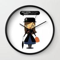 mary poppins Wall Clocks featuring Mary Poppins by oyoyoi