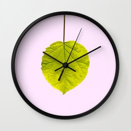Bright Green Leaf On A Pink Background #society6 #buyart Wall Clock