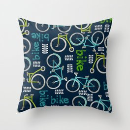 Watercolor Blue and Green Bike Throw Pillow