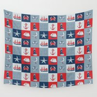 nautical Wall Tapestries featuring Nautical by Julscela