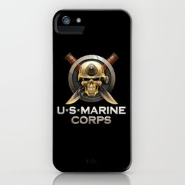 Military badge with marine skull iPhone Case