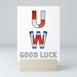 """U"" ""W"" Good Luck - Navy Alphabet - Leather Mini Art Print"
