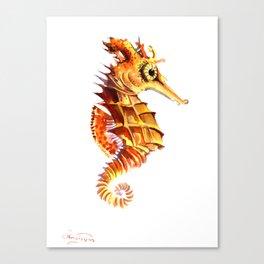 Seahorse, orange yellow cute animals illustration children room nursery sea world art Canvas Print
