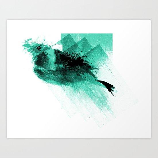 Splatter Bird Blue Art Print