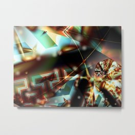 Burning Crystal Aperture Metal Print