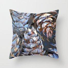 Blue Cones Throw Pillow