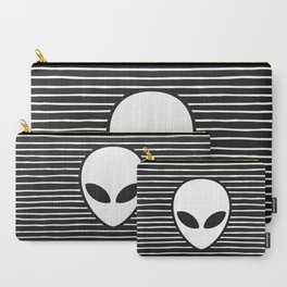 Alien on Black and White stripes Carry-All Pouch