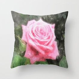 Pink Roses in Anzures 4 Watercolor Throw Pillow