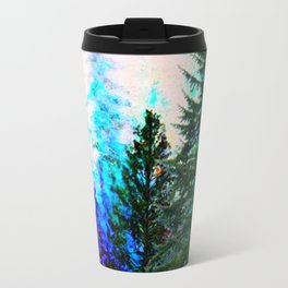 SCENIC BLUE MOUNTAIN GREEN PINE FOREST Travel Mug
