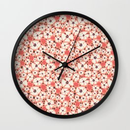 A Peony shower in coral Wall Clock