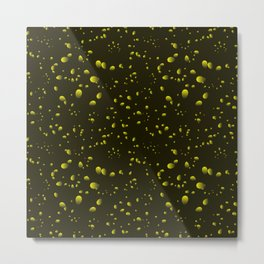 Yellow iridescent drops on a black background in nacre. Metal Print