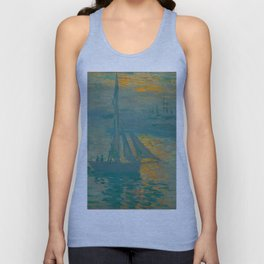 Claude Monet Impressionist Landscape Oil Painting French - Sunrise Marine Sail Boat Unisex Tank Top