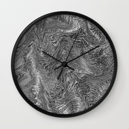 black and white curly line drawing abstract background Wall Clock