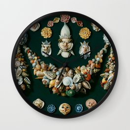 "Jan van Kessel de Oude ""Festoon, masks and rosettes made of shells"" Wall Clock"