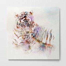 Tigress with Cub Metal Print