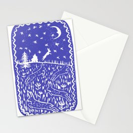 Hares Jump into the Night Sky in lilac Stationery Cards