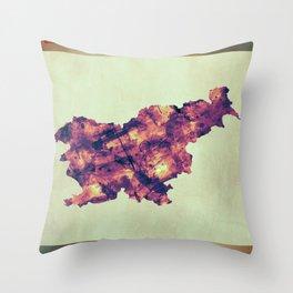 Slovenia Map with Flag Throw Pillow