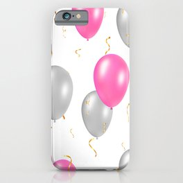 Happy party pattern, with pink, silver balloons, gold confetti. iPhone Case