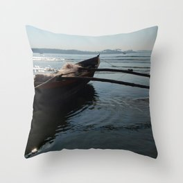 Fishing Boat Loaded with Nets Palolem Throw Pillow