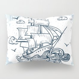 Hand drawn boat with waves background Pillow Sham