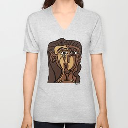 Pablo Picasso, Tete de Femme (Head Of A Woman) 1962 Artwork Reproduction Unisex V-Neck