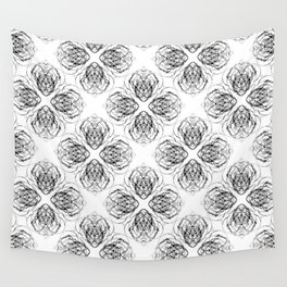 Black and White Doodle Flower Drawing Wall Tapestry