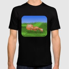 Ant smiling in tall green grass Mens Fitted Tee Black MEDIUM