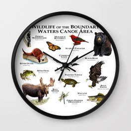 Wildlife of the Boundary Water Canoe Area Wall Clock