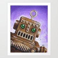 steam punk Art Prints featuring i.Friend: Steam Punk Robot by CHRIS MASON