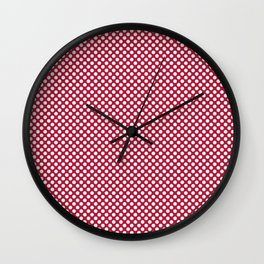 Lipstick Red and White Polka Dots Wall Clock