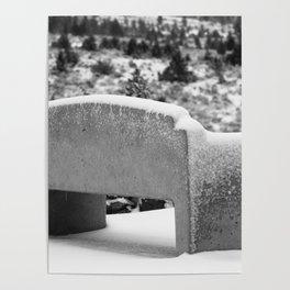 Snowy Bench Poster