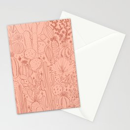 Cactus Scene in Pink Stationery Cards