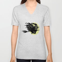 Flying Witch On Broomstick With A Big Moon Unisex V-Neck