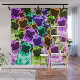 Colorful  Pug Pattern Wall Mural