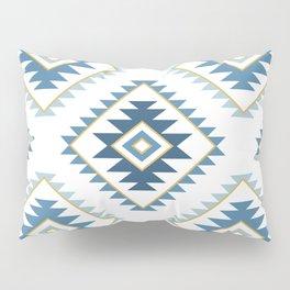 Aztec Style Motif Pattern Blues White Gold Pillow Sham