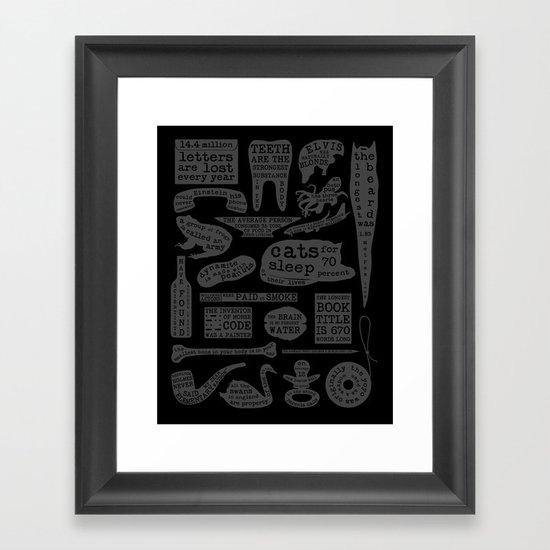 Useful Facts (On Black) Framed Art Print