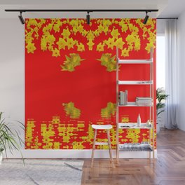 DECORATIVE RED YELLOW DAFFODILS ART Wall Mural
