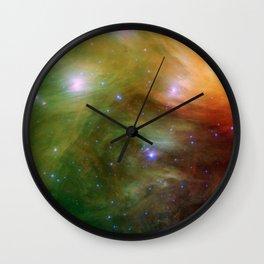 Galaxy : Pleiades Star Cluster neBuLa Green Orange Wall Clock