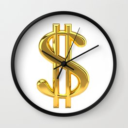 Gold Dollar Sign on White Wall Clock