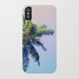 Coco Palm Trees on Pink Blue Sky iPhone Case