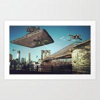 Battle of Brooklyn Bridge Art Print