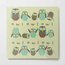 Energetic Owls Metal Print
