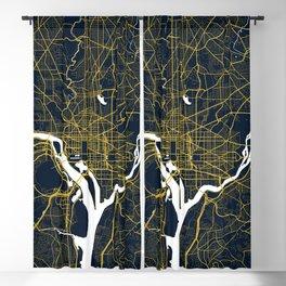 Washington DC City Map of the United States - Gold Art Deco Blackout Curtain