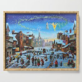 """A Christmas Carol """"Scrooge and the ghost of Christmas past"""" Serving Tray"""