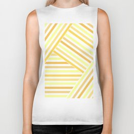 Yellow white striped patchwork Biker Tank
